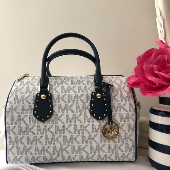 6f03f29b53b5 Michael Kors Bags | Aria Md Studded Satchel Handbag | Poshmark